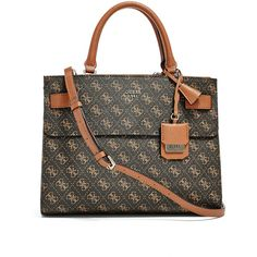 GUESS Cate Quattro G Satchel (445 SAR) ❤ liked on Polyvore featuring bags, handbags, brown, leather satchel purse, brown satchel purse, genuine leather purse, brown leather handbags and leather handbags