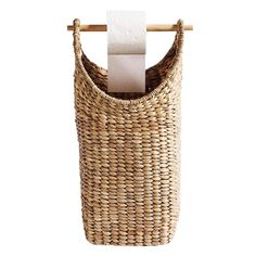 Tall basket in hand-woven water hyacinth. Use the basket to store toilet paper, plaids or other home textiles. Are you using the basket to keep toilet paper,.