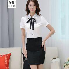 Senhora Do Escritório Camisa do Desgaste Do Trabalho 2016 das Mulheres Beading decorado bow tieTops Turn-Down Collar de Manga Curta Branco Feminino Blusa de chiffon