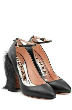 bf92f1d51aebc Rochas Fur-Detailed Leather Pumps Thick Heels Pumps, Chunky Heel Pumps,  Round Toe