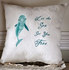 Handmade Embroidered Coastal Quote Pillows