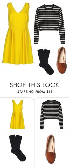 """yellow dress outfit 3"" by jessica-rose-lentz on Polyvore featuring Imperial, TIBI, Falke and Office"