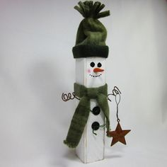 wooden snowman crafts | Wooden Snowman Shabby Home Decor Sage Hunter Green ... | crafts