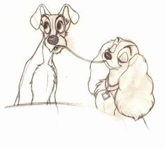 Lady And The Tramp Animation Drawings - one of the most famous animation sequences ever - Frank Thomas (MP)