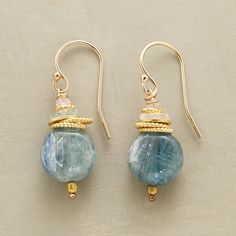 """TIDELINE EARRINGS -- Twisted ropes of 18kt gold vermeil top a drop of kyanite as aquamarine and pink sapphire sparkle above. 14kt goldfilled wires. USA. Exclusive. 1-1/4""""L."""