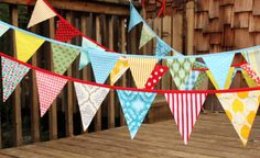 30 Foot Bunting, Wedding Party Flags, Birthday Decoration, Photo Prop.  Featuring LARGE Sized Flags in Cotton Fabrics by Popular Designers.