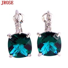 >> Click to Buy << JROSE Wholesale New Fashion Princess Cut Charming Green & White CZ Silver Color Dangle Hook Earrings Women Jewelry Wholesale  #Affiliate
