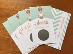 Set of 24 Seafoam Bride Scratch off Cards, Bridal Shower, Bachelorette Party, Personalized hair and skin colors