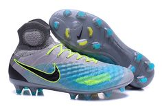 brand new a47ed a83f8 Nike Magista Obra FG II FG Grey Blue Black Top Ankle Men Soccer Shoes