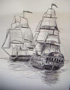 two sailing ships pen drawing