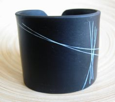 Abstract Black Cuff Bracelet, Modern Design,  Polymer Clay Jewelry by theshagbag on Etsy by theshagbag