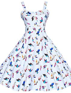 Maggie Tang Women's 50s Vintage Bird Rockabilly Hepburn Pinup Business Swing Dress 537 3704263 2016 – $26.99