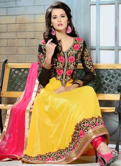 Desirable Yellow And Black Faux Georgette Anarkali Suit, Product Code :8135, shop now http://www.sareesaga.in/index.php?route=product%2Fproduct&product_id=8135  Email : support@sareesaga.com What's App or Call : +91-9825192886