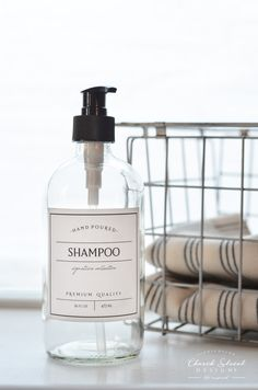 Glass Shampoo Bottle - Refillable Shampoo Bottle with Pump - Waterproof labels - Turn your bathroom into a spa with these glass shampoo and conditioner bottles - Church Street Designs Shampoo Dispenser, Glass Dispenser, Clear Shampoo, Shampoo Bottles, Detergent Bottles, Lush, Waterproof Labels, Brown Bottles, Vinyl Labels