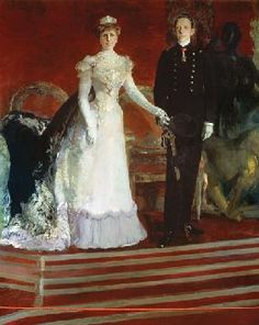 Joaquin Sorolla -  Portrait of King Alfonso XIII of Spain, and his mother, Queen Maria Christina