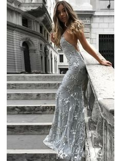 Mermaid V-Neck Lace Long Prom Dresses Formal Evening Dresses 996021694