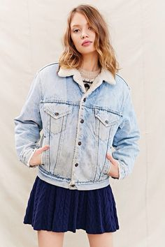 denim jacket with sheep collar