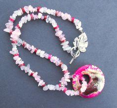 Agate Quartz Jasper Necklace, Pink Brown Dragon Veins Agate Doughnut Bead, Pink & Snow Quartz Crystal Nuggets, Balancing Jewelry, Boho