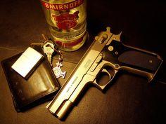 Gun, Bottle, key and wallet Gold HD Wallpaper | Hd Wallpaper