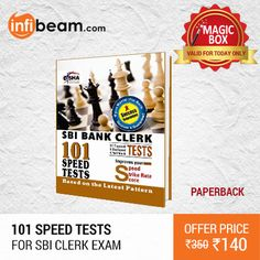 101 Speed Tests for SBI Clerk Exam at Lowest Rate from Infibeam's MagicBox !  Assuring Lowest Price in Magic Box Deals !   HURRY OFFER VALID FOR TODAY ONLY !!  #MagicBox #Deals #DealOfTheDay #Offer #Discount #LowestRates #DishaExperts #SBI #ExamMaterial #ClerkExams