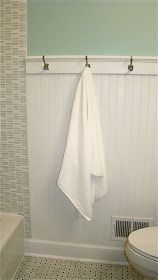 Bathroom Remodel on a Budget- like the bead board and hooks instead of towel bar