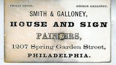 1860s Coated Stock Trade Card Smith Galloney House Sign Painters Philadelphia | eBay