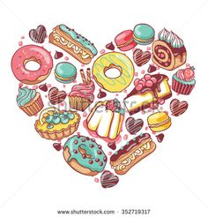 Love pastry sweets vector bakery products desserts heart with donut, cupcake, chocolate, macaroon, eclair, pie, cheesecake, muffin, candies, jelly, cookies