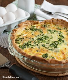 Spinach and Cheddar Quiche - This is the best quiche custard recipe of any that I've had!  Perfect proportion of egg to cream to cheese and perfect seasonings.  You can vary the other filling ingredients with whatever you want to use.  The best quiche ever!