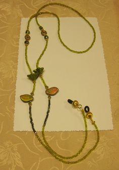 Olive Green Gold Flecked Flowers Beaded Eye Glasses Holder by crafts4thecure, ♥etsy♥ $7.50