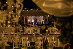 The bistro lighting our bride, Lauren, had set up in the courtyard created an incredible ambiance for a reception under the stars!