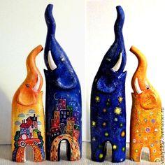 Слоники Иня с Яней 2. Скульптура. Дерево. Ручная роспись - дерево,деревянная скульптура