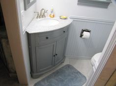"""Home Decorators Collection"" Hamilton 31 in. Vanity in Grey with Granite Vanity Top in Grey with White Basin 0567600270 at The Home Depot - Mobile Mobile Home Bathrooms, Tiny Bathrooms, Upstairs Bathrooms, Downstairs Bathroom, Small Bathroom, Bathroom Ideas, Restroom Ideas, Master Bathroom, Tiny Half Bath"
