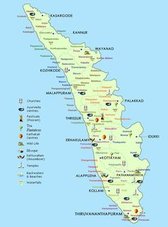 Voyages to Kerala India Map, Kerala India, South India, Kerala Travel, India Travel, Oh The Places You'll Go, Places To Travel, India Holidays, Amazing India