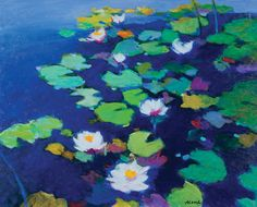 Asoma Tadashi - Water Lilies - Oil on canvas, 28 x 35 inches
