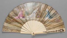 1870-1875, Austria - Fan - Silk leaf, painted, bordered with gilt; ivory sticks; ivory guards gilt, decorated with pearls, garnets, enamel, silver