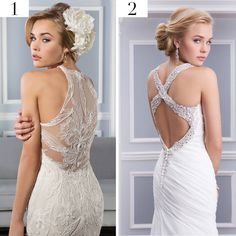 Stunning Lillian West gowns. Backless, sheer back, lace, crystal, beaded, Ivory, light gold