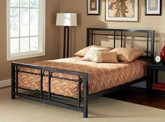 Complete your bedroom collection with this Bryant king-size bedFashionable bed is made of sturdy and durable metal with a luxurious finishElegant bed design is sure to enhance any bedroom decor Cama Queen Size, Queen Size Bedding, Bedroom Furniture, Furniture Design, Iron Furniture, Bedroom Decor, Online Furniture, Steel Bed Design, Camas King
