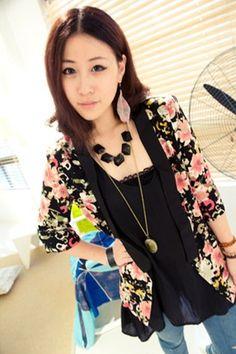 Black Women Autumn New Style Flower Print Mid Sleeve Cotton Coat M/L @WH0398b