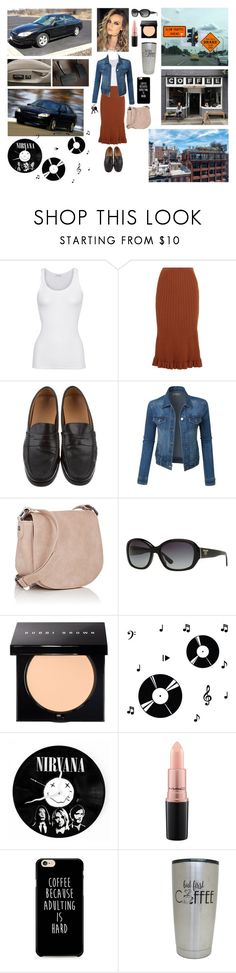 """""""Rachel - Cranking Nirvana Rushing Off to Work While Stopping for Coffee Along the Way❤️👩🏼👜👣🎤🎸🛣☕️🏙❤️"""" by chrisiggy ❤ liked on Polyvore featuring American Vintage, Victoria Beckham, Tod's, LE3NO, Deux Lux, Prada, Bobbi Brown Cosmetics, Dot & Bo and MAC Cosmetics"""