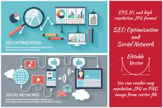 SEO Optimization and Social Network by robuart on Creative Market