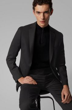 HUGO BOSS Neight2/Byte2 Costume Slim Fit en laine vierge stretch à micro motif - Costume Homme Hugo Boss - Iziva.com Costume Homme Hugo Boss, Costume Slim, Mannequin, Costumes, Blazer, Fitness, Jackets, Party, Guy Fashion