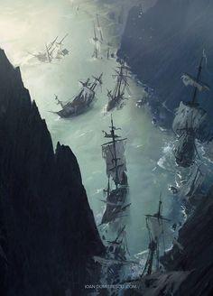 pirates | fiord | blue | pirate ship | ocean