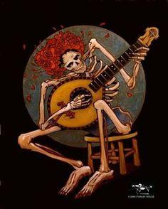 Dancin skeleton playing guitar