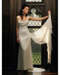 2013 Neue günstige Brautmode aus Chiffon Hochtaille und verziertes Korsett Rock mit langer Schleppe
