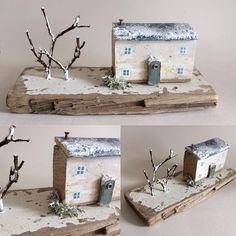 Driftwood snowy cottage £30 (+£2.85p&p). Approx. 20cm long. All handmade using driftwood and natural materials-total 'one off' #trees #christmasgift #xmas #christmastree #christmas #xmas #gift #scandi #scandinavian #nordic #snow #snowy #whitedecor #cottage #driftwood #driftwoodart #beachart #twigs #reclaimed #rustic #recycle #cornish #cornwall #kernow #flotsam #winter #november #instadaily #handmade #miniature #nautical