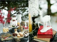 wintery dessert table with books and everything...