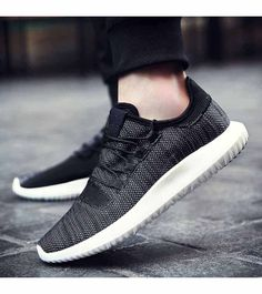 Men's #black flyknit sport shoe #sneakers simple design, Lace up style, casual, sport, trainers Occasions.