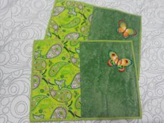 Jogo Americano Borboletas 4 peças em Patchwork e Patch Aplique em tecido 100$ algodão com tingimento artesanal.