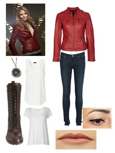 """""""Emma Swan (Once Upon a Time)"""" by meg-culhane ❤ liked on Polyvore featuring Once Upon a Time, Marc by Marc Jacobs, American Vintage, swan, leather, upon, jacket, emma, once and a"""