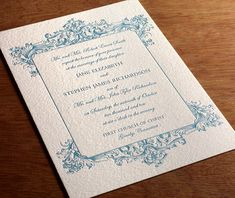 Baroque is one of our most popular formal invitations. The amount of detail framing the invitation is sure to wow your guests.